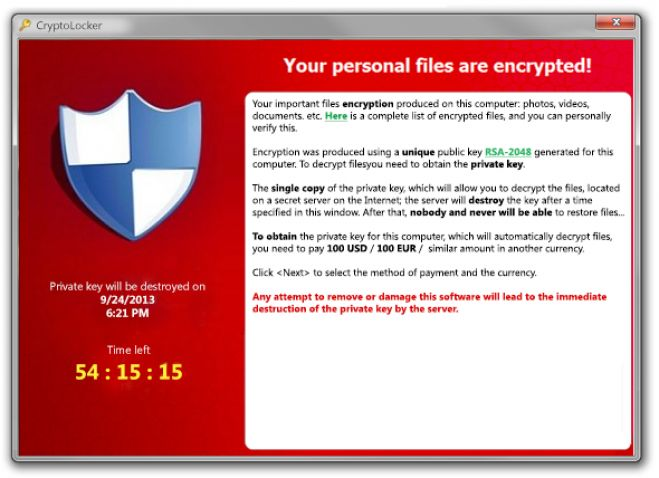 Internet. Attenti al virus Cryptolocker